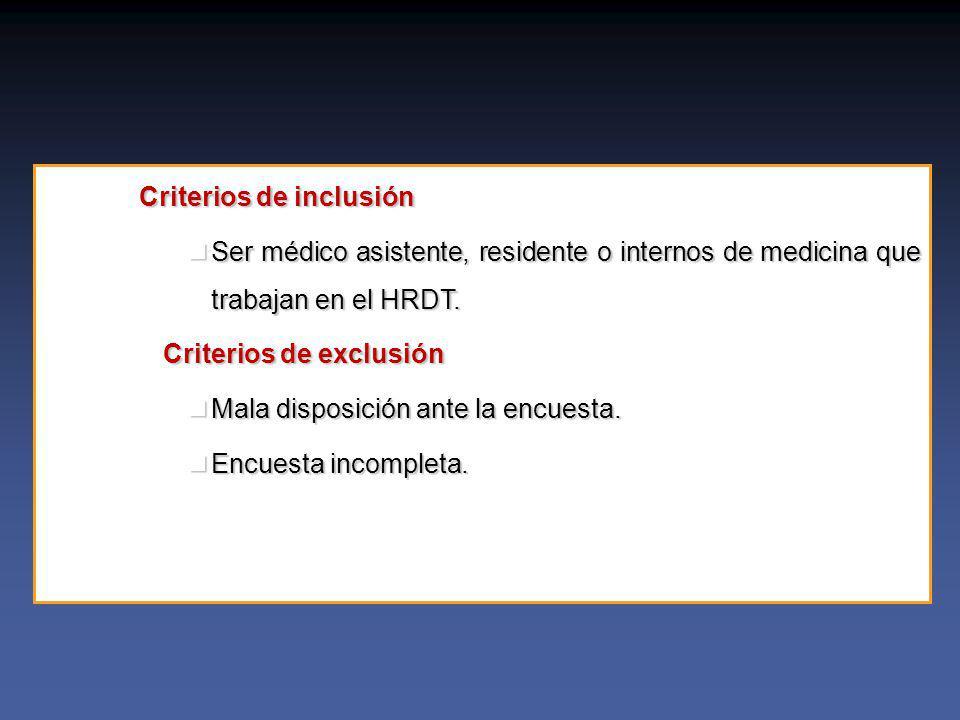 Criterios de inclusión Ser médico asistente, residente o internos de medicina que trabajan en el HRDT.