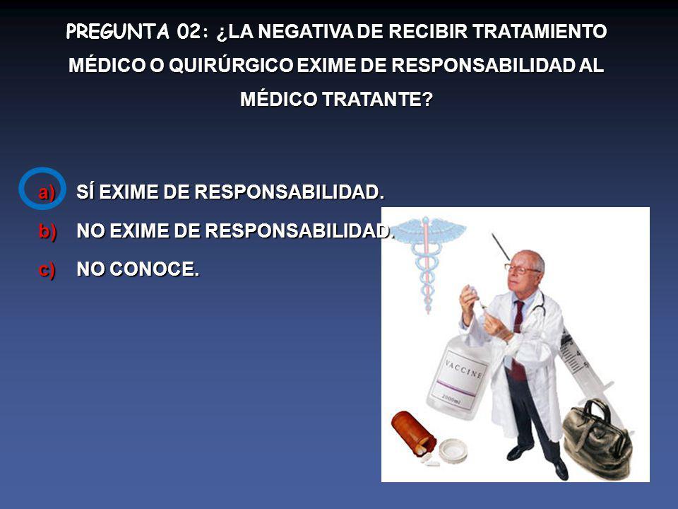 PREGUNTA 02: ¿LA NEGATIVA DE RECIBIR TRATAMIENTO MÉDICO O QUIRÚRGICO EXIME DE RESPONSABILIDAD AL MÉDICO TRATANTE.