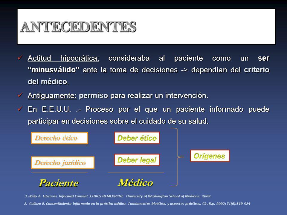 Key elements LIBERTAD EVALUACIÓN CONSENTIMIENTO INFORMADO INFORMACIÓ N ADECUADA DIAGNÓSTICO TRATAMIENTO PRONÓSTICO PROTOCOLOS