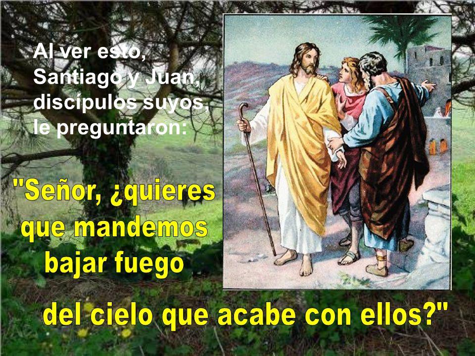 Al ver esto, Santiago y Juan, discípulos suyos, le preguntaron: