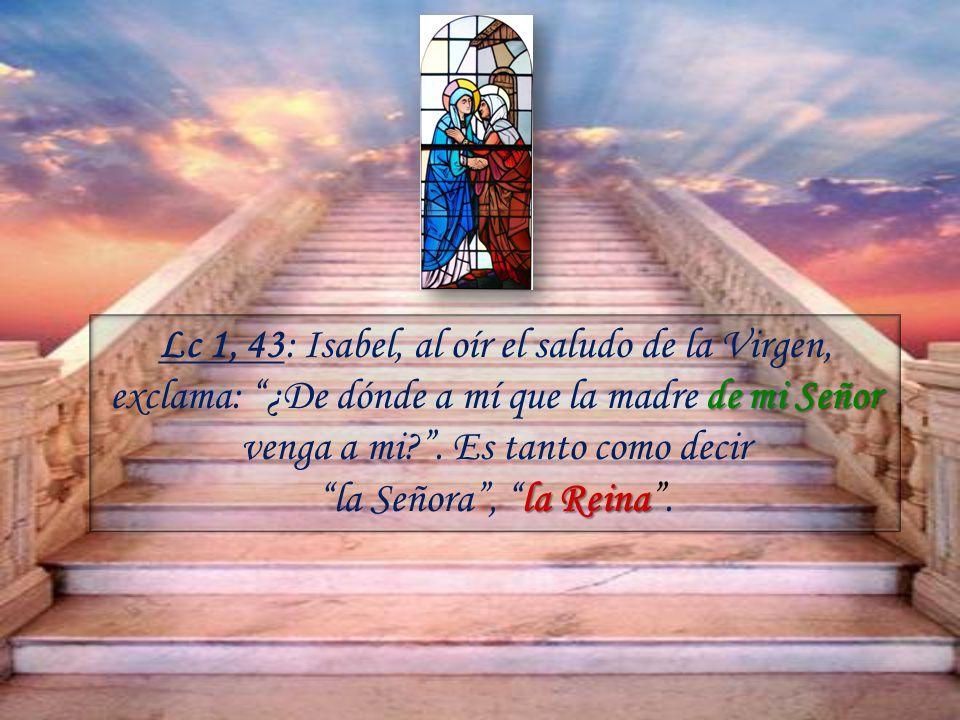 de mi Señor Lc 1, 43: Isabel, al oír el saludo de la Virgen, exclama: ¿De dónde a mí que la madre de mi Señor venga a mi?.