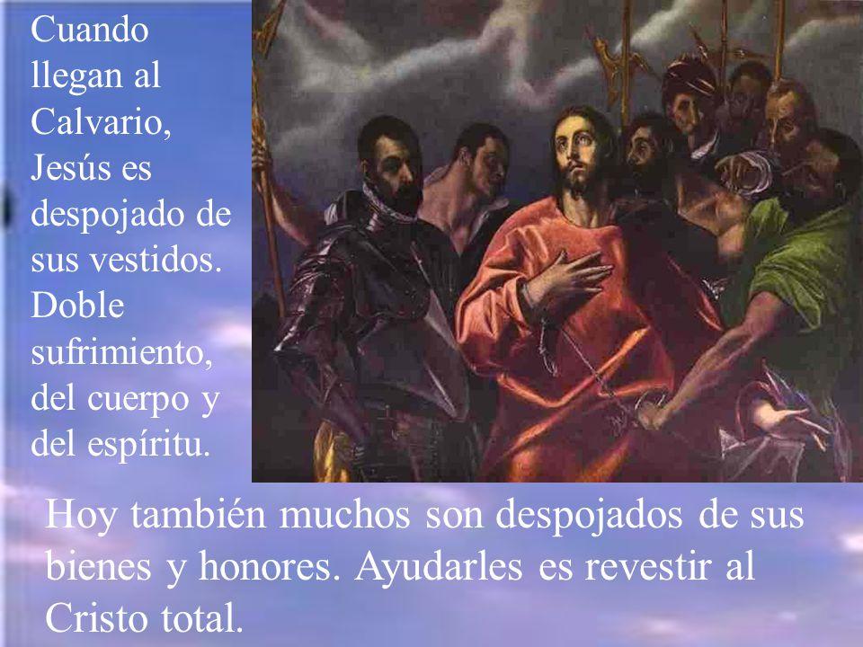 Las fuerzas de Jesús estaban muy debilitadas y cae por tierra, quizá varias veces; Pero se levanta.