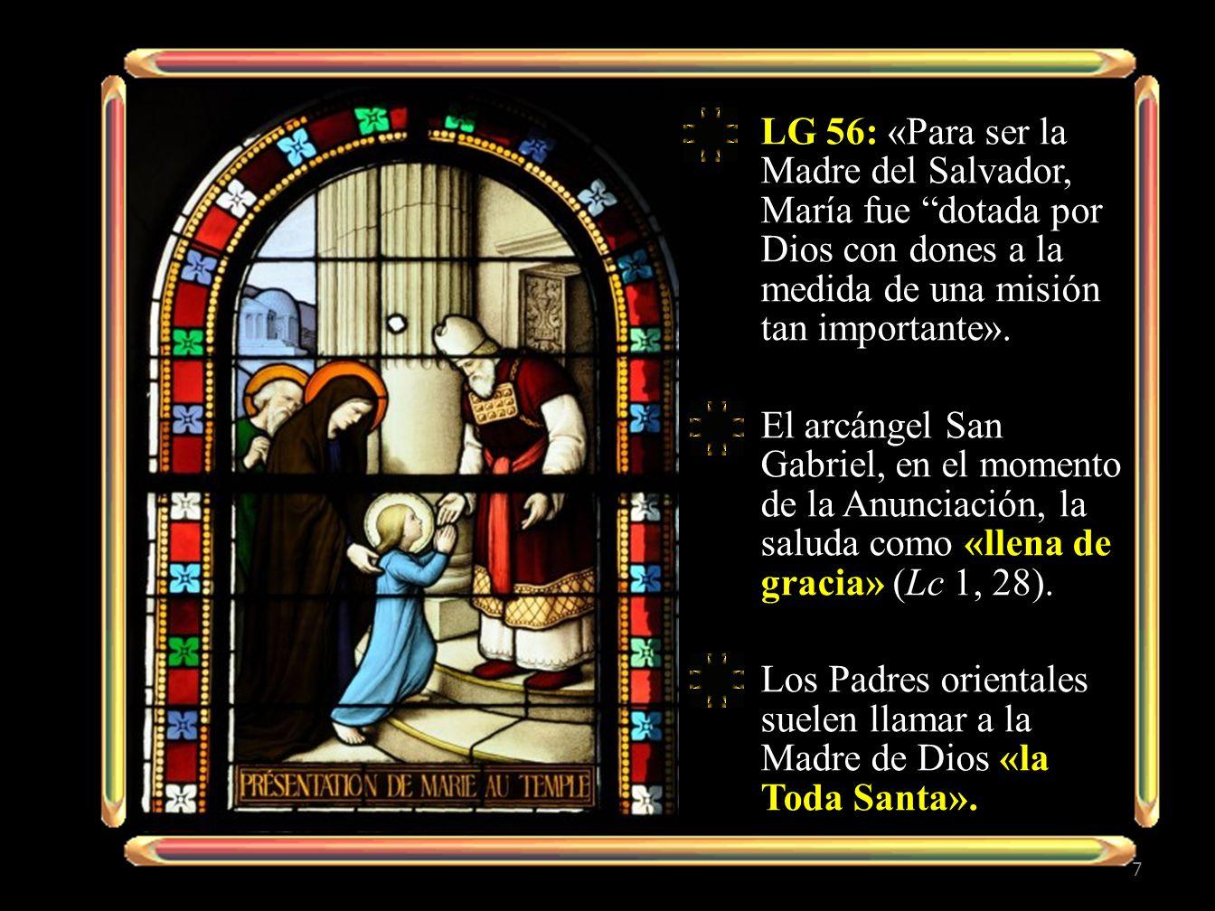 «María, hija de Adán, aceptando la palabra divina fue hecha Madre de Jesús, y abrazando la voluntad salvífica de Dios con generoso corazón y sin el impedimento de pecado alguno, se consagró totalmente a sí misma, cual esclava del Señor, a la persona y a la obra de su Hijo, sirviendo al misterio de la Redención con El y bajo El, por la gracia de Dios omnipotente».