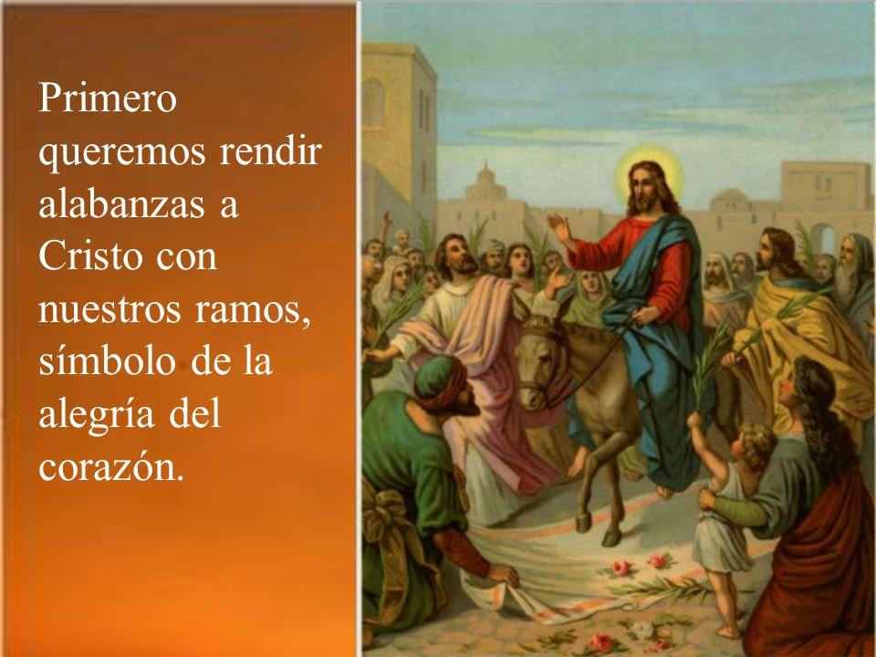 La liturgia de este día tiene dos partes. Primero actualizamos la entrada triunfante de Jesús en Jerusalén. Pero en el trasfondo, como en este cuadro,