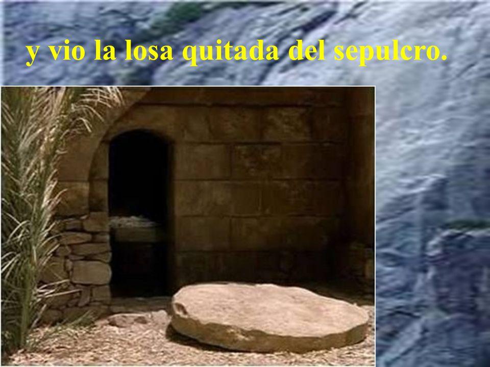 El primer día de la semana, María Magdalena fue al sepulcro al amanecer, cuando aún estaba oscuro,