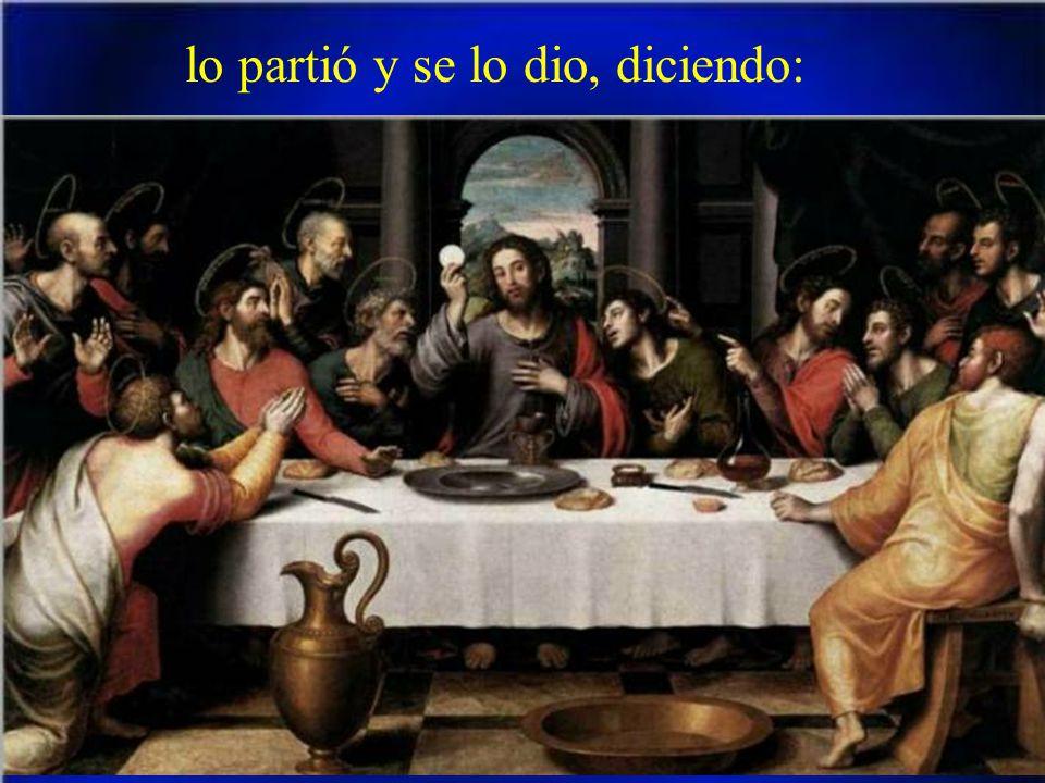 Mientras comían, Jesús tomó un pan, pronunció la bendición,