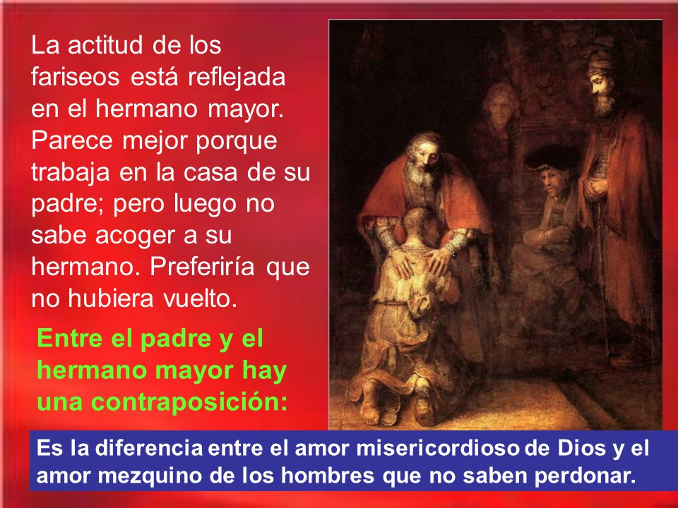 En la tercera parábola la misericordia de Dios está expresada en la bondad de aquel padre que ha esperado la vuelta del hijo y ahora le da el abrazo del perdón.
