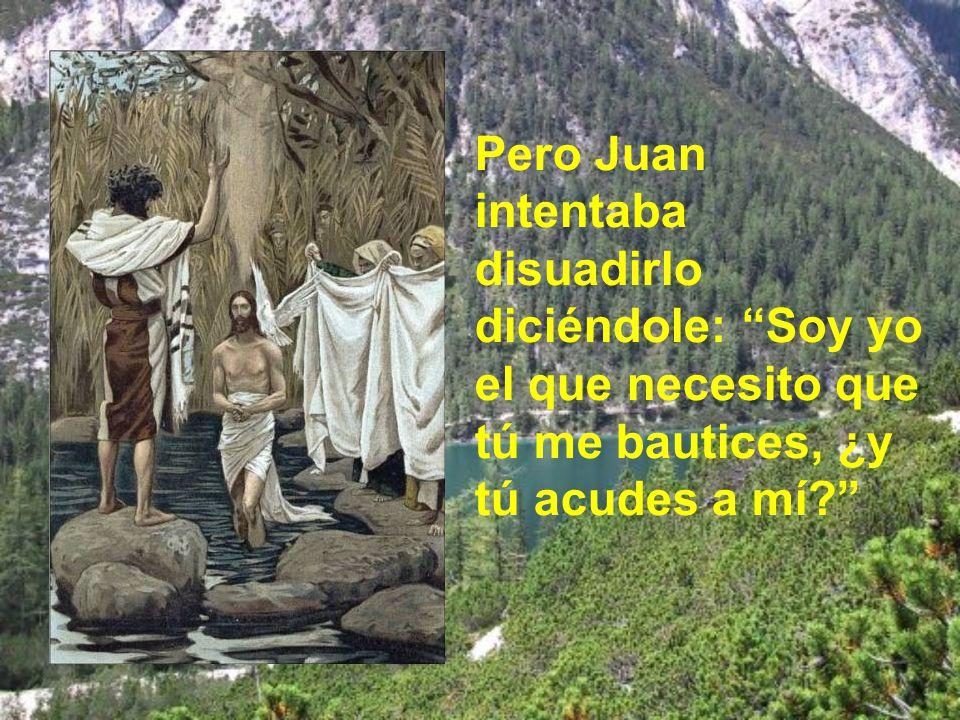 Pero Juan intentaba disuadirlo diciéndole: Soy yo el que necesito que tú me bautices, ¿y tú acudes a mí?