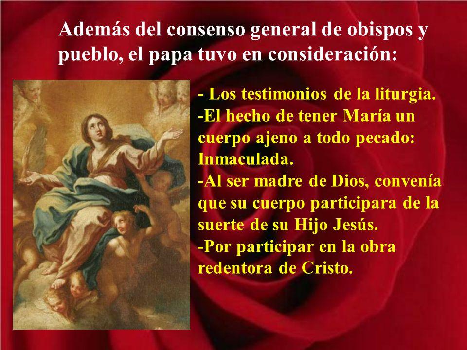 Además del consenso general de obispos y pueblo, el papa tuvo en consideración: - Los testimonios de la liturgia.