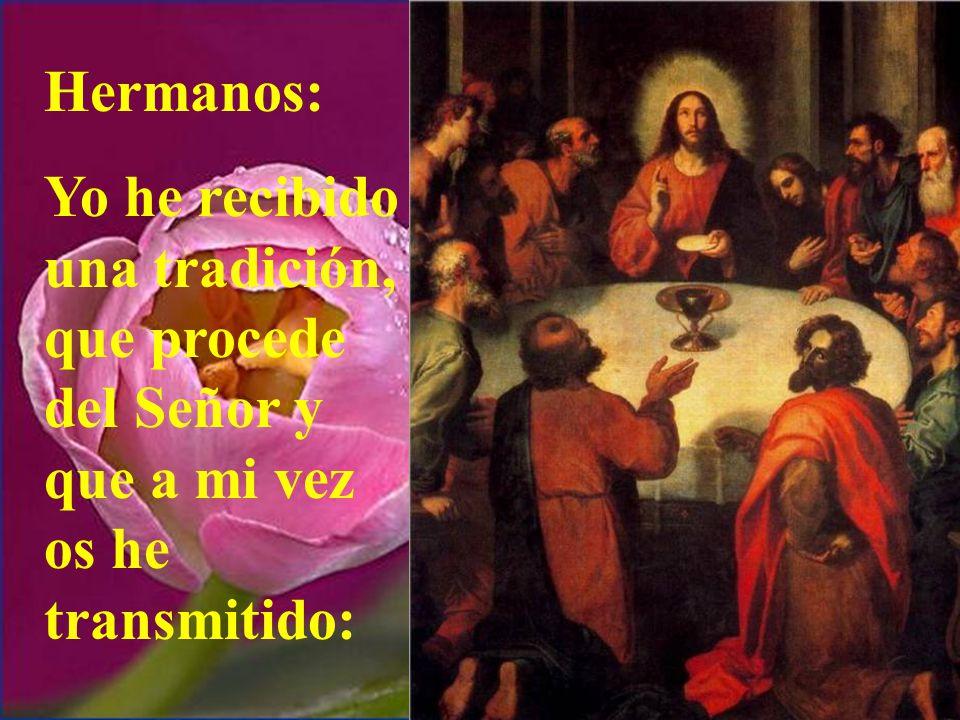Hoy la 2ª lectura nos habla del momento de la institución de la Eucaristía.