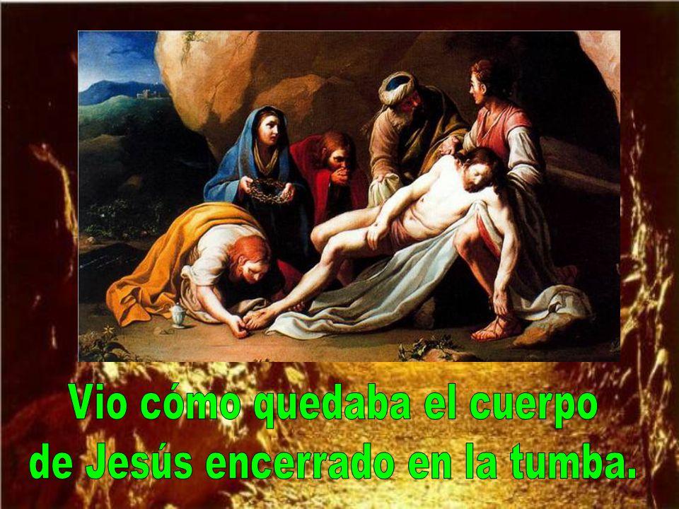 Ayudó, en lo que pudo, en el descendi- miento del cuerpo de Jesús.