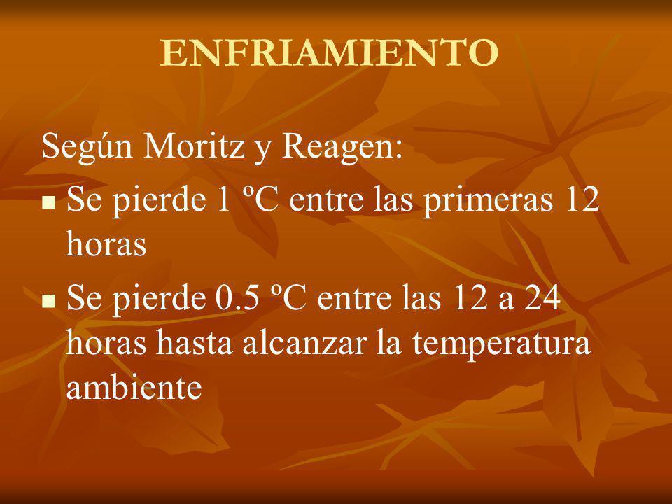 Según Moritz y Reagen: Se pierde 1 ºC entre las primeras 12 horas Se pierde 0.5 ºC entre las 12 a 24 horas hasta alcanzar la temperatura ambiente ENFR