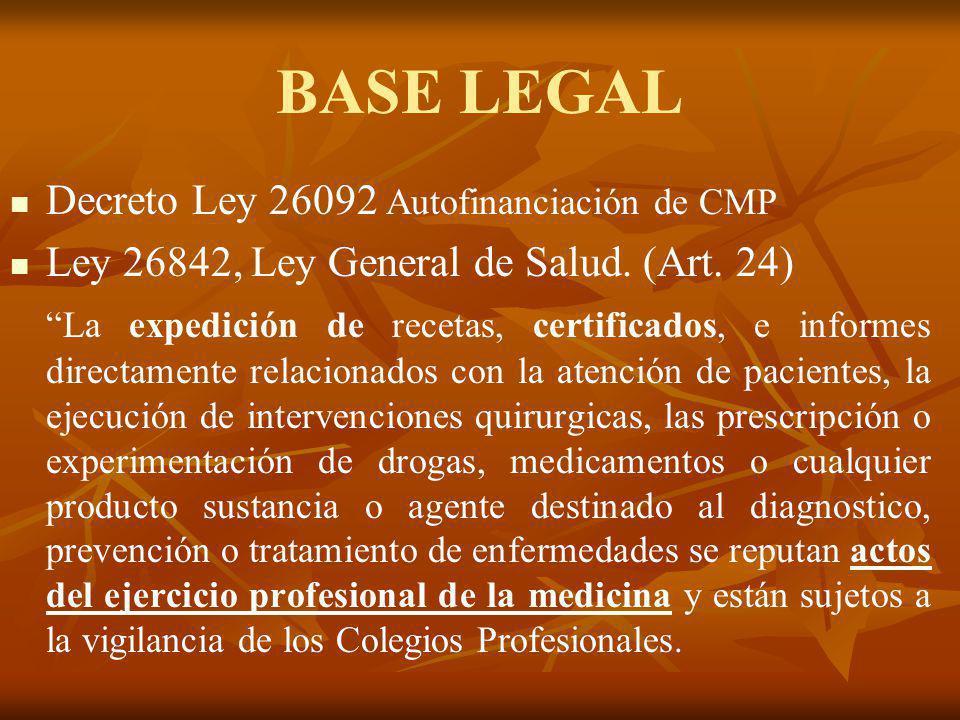 BASE LEGAL Decreto Ley 26092 Autofinanciación de CMP Ley 26842, Ley General de Salud. (Art. 24) La expedición de recetas, certificados, e informes dir