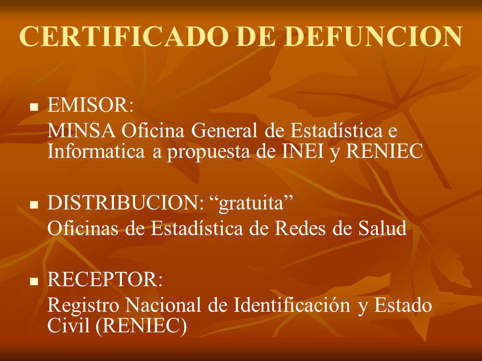 CERTIFICADO DE DEFUNCION EMISOR: MINSA Oficina General de Estadística e Informatica a propuesta de INEI y RENIEC DISTRIBUCION: gratuita Oficinas de Es