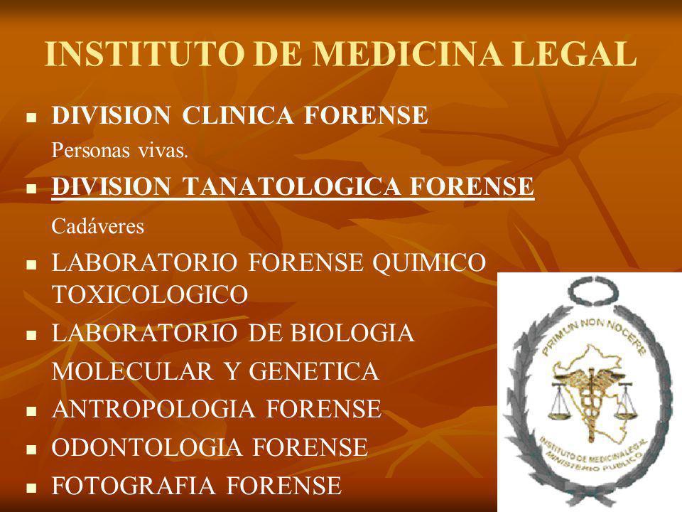INSTITUTO DE MEDICINA LEGAL DIVISION CLINICA FORENSE Personas vivas. DIVISION TANATOLOGICA FORENSE Cadáveres LABORATORIO FORENSE QUIMICO TOXICOLOGICO