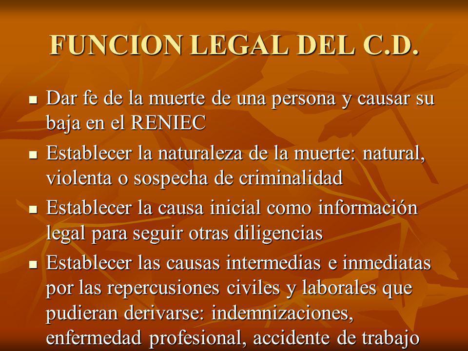 FUNCION LEGAL DEL C.D. Dar fe de la muerte de una persona y causar su baja en el RENIEC Dar fe de la muerte de una persona y causar su baja en el RENI