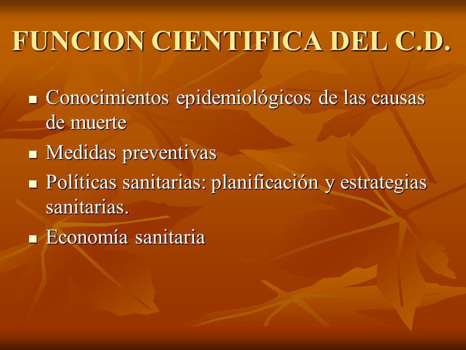 FUNCION CIENTIFICA DEL C.D. Conocimientos epidemiológicos de las causas de muerte Conocimientos epidemiológicos de las causas de muerte Medidas preven