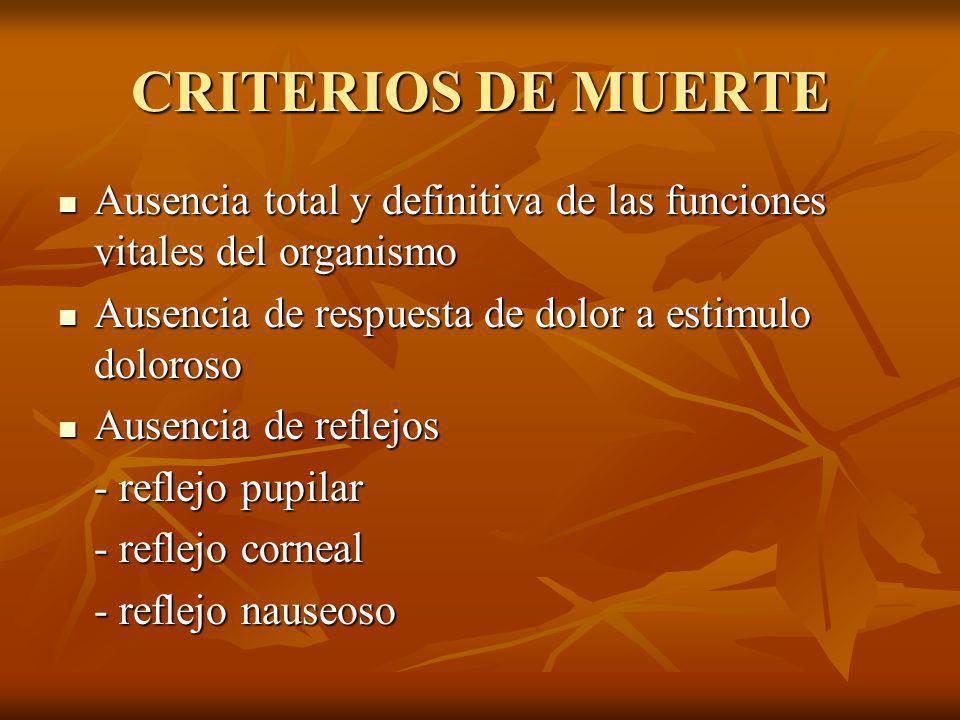 CRITERIOS DE MUERTE Ausencia total y definitiva de las funciones vitales del organismo Ausencia total y definitiva de las funciones vitales del organi