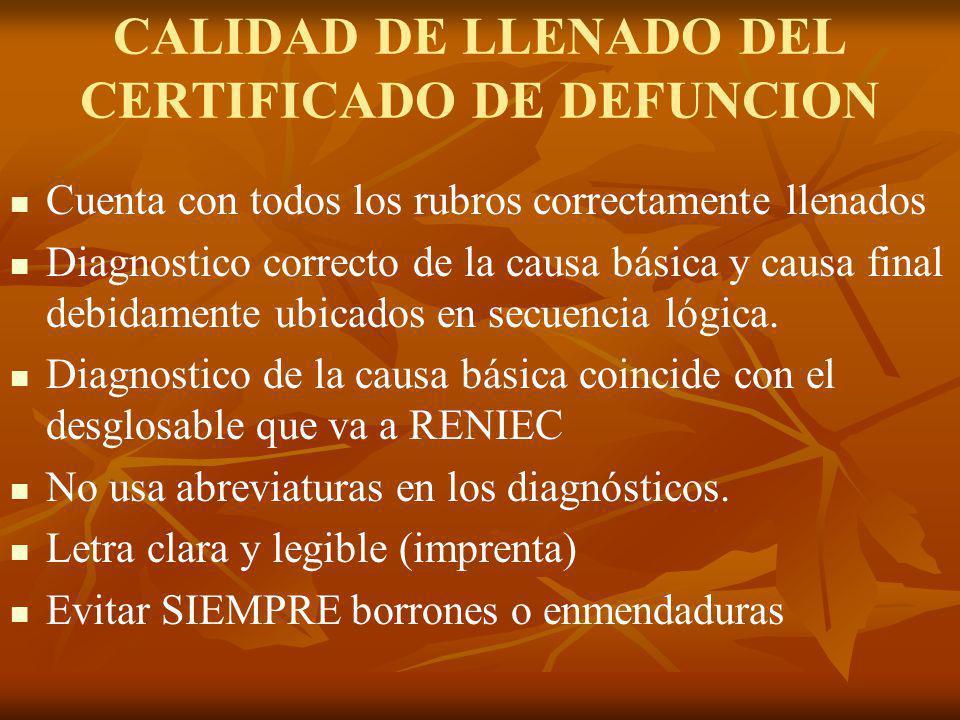 CALIDAD DE LLENADO DEL CERTIFICADO DE DEFUNCION Cuenta con todos los rubros correctamente llenados Diagnostico correcto de la causa básica y causa fin