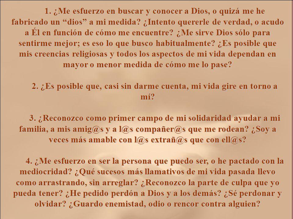 II. EXAMEN DE CONCIENCIA del folleto MI CORAZÓN ESTÁ INQUIETO, de Javier Cremades