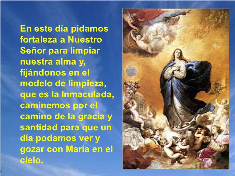 María es un signo anticipado: de limpieza, de belleza, de santidad, de perfección, de plenitud, de vida nueva, de victoria pascual. Es un anticipo del