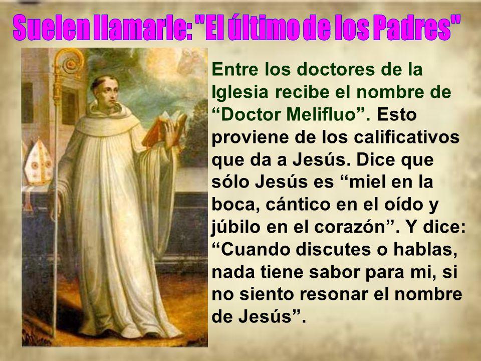 Entre los doctores de la Iglesia recibe el nombre de Doctor Melifluo.