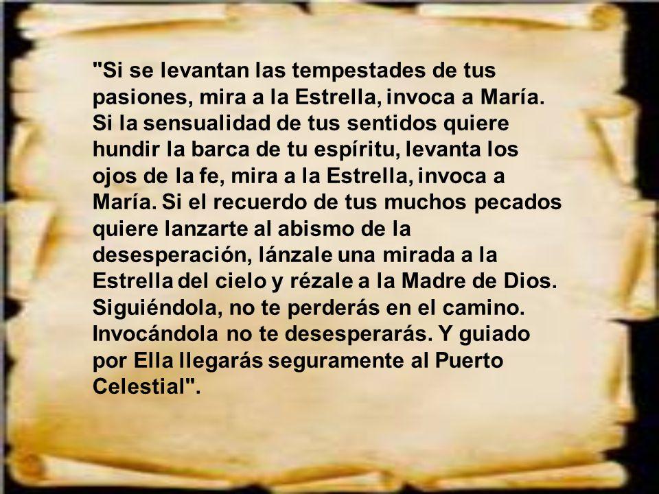 Dice san Bernardo: La voluntad de Dios es que todo lo tengamos por María. Si os asusta la majestad divina, recurrid a María, la Mediadora que Él nos h