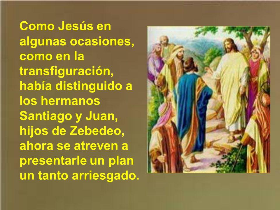 Y como los discípulos, en sus conversaciones apartadas de Jesús, pensaban en el posible reino que Jesús instauraría, cada uno tenía sus planes. Éstos