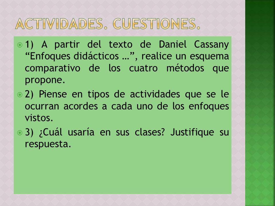1) A partir del texto de Daniel Cassany Enfoques didácticos …, realice un esquema comparativo de los cuatro métodos que propone. 2) Piense en tipos de