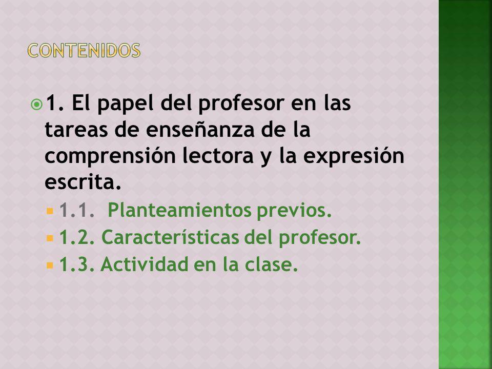 1. El papel del profesor en las tareas de enseñanza de la comprensión lectora y la expresión escrita. 1.1. Planteamientos previos. 1.2. Característica