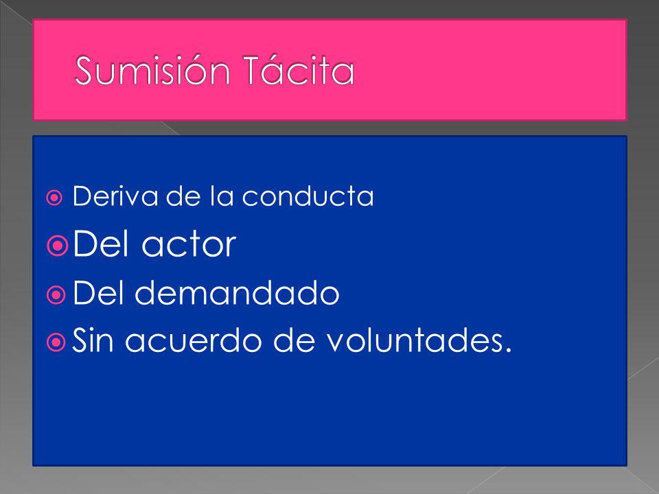 Deriva de la conducta Del actor Del demandado Sin acuerdo de voluntades.