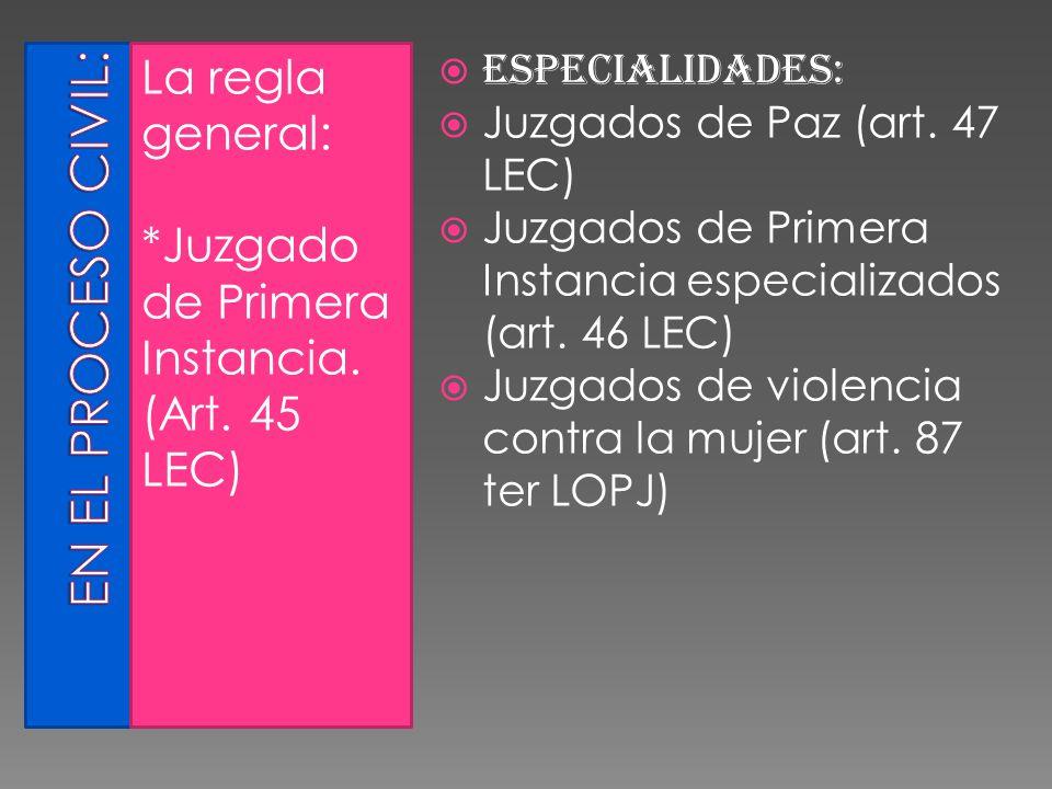 La regla general: *Juzgado de Primera Instancia. (Art. 45 LEC) Especialidades: Juzgados de Paz (art. 47 LEC) Juzgados de Primera Instancia especializa
