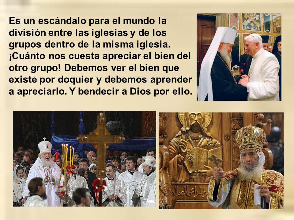 A veces hasta dentro de la misma Iglesia Católica formamos grupos o bandos, nos despreciamos o no sabemos valorar lo del otro grupo. A veces se insist