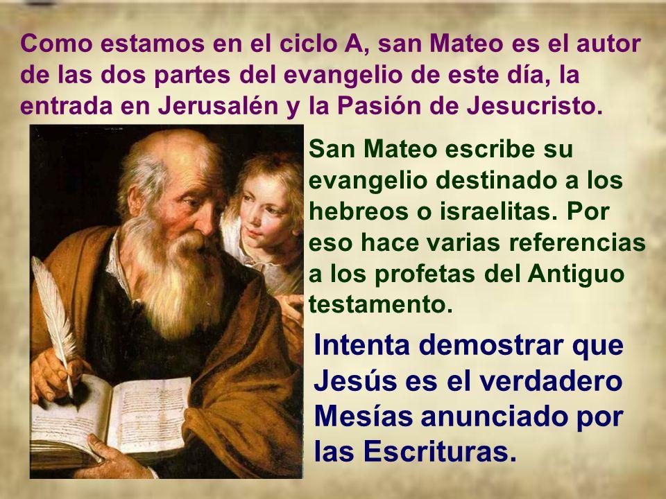 Al ser el comienzo de la Semana Santa o de Pasión, el evangelio de la misa será el relato de la Pasión de Jesús, marcando esta tonalidad a toda la mis