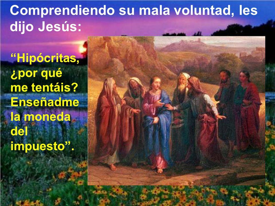 Comprendiendo su mala voluntad, les dijo Jesús: Hipócritas, ¿por qué me tentáis.