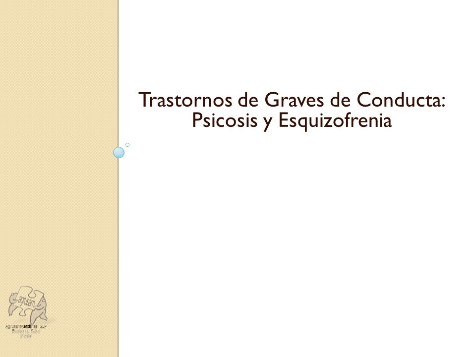 Trastornos Graves de Conducta: Psicosis y Esquizofrenia IV Jornadas de Atención a la Diversidad: Educación Emocional Esquizofrenia.