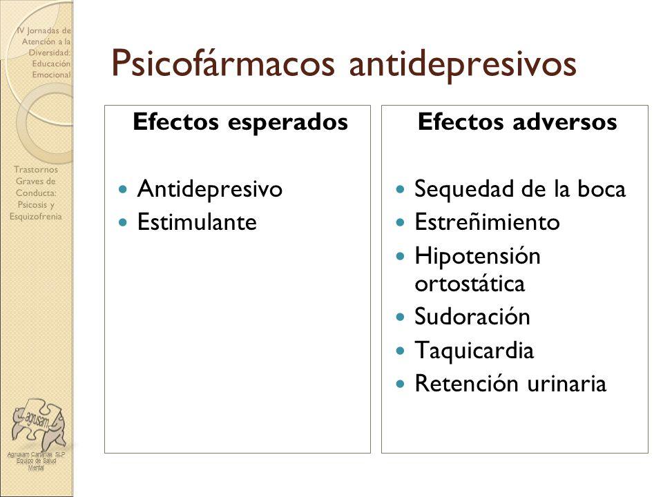 Trastornos Graves de Conducta: Psicosis y Esquizofrenia IV Jornadas de Atención a la Diversidad: Educación Emocional Psicofármacos antidepresivos Efec