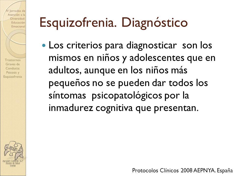 Trastornos Graves de Conducta: Psicosis y Esquizofrenia IV Jornadas de Atención a la Diversidad: Educación Emocional Esquizofrenia. Diagnóstico Los cr