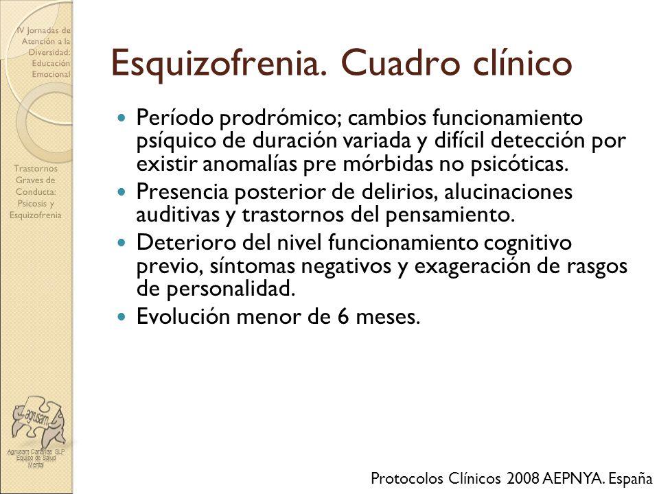 Trastornos Graves de Conducta: Psicosis y Esquizofrenia IV Jornadas de Atención a la Diversidad: Educación Emocional Esquizofrenia. Cuadro clínico Per