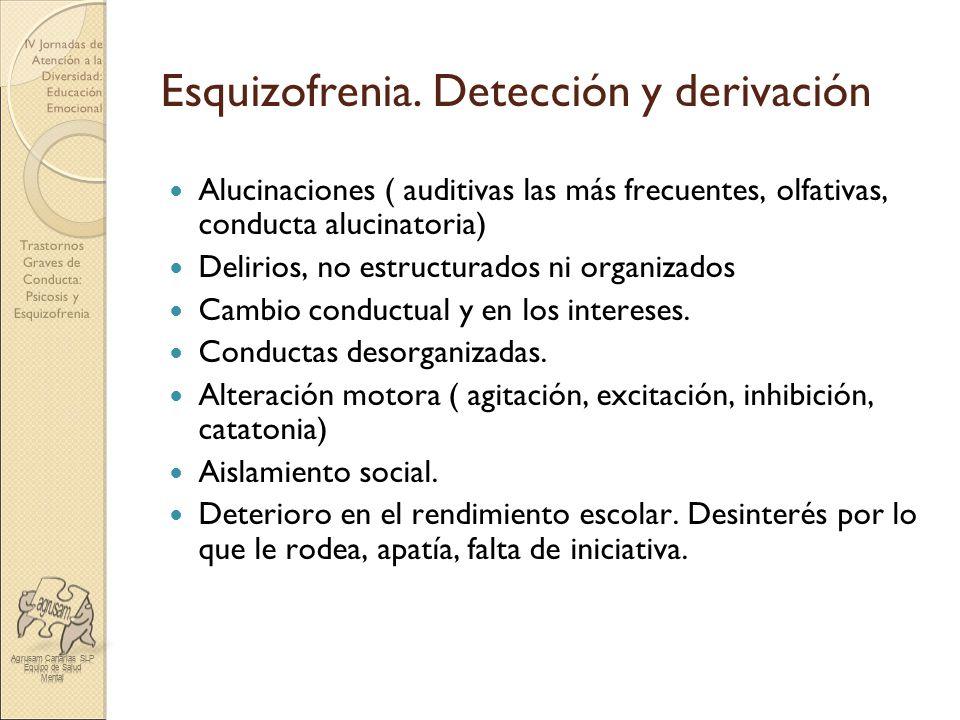 Trastornos Graves de Conducta: Psicosis y Esquizofrenia IV Jornadas de Atención a la Diversidad: Educación Emocional Esquizofrenia. Detección y deriva