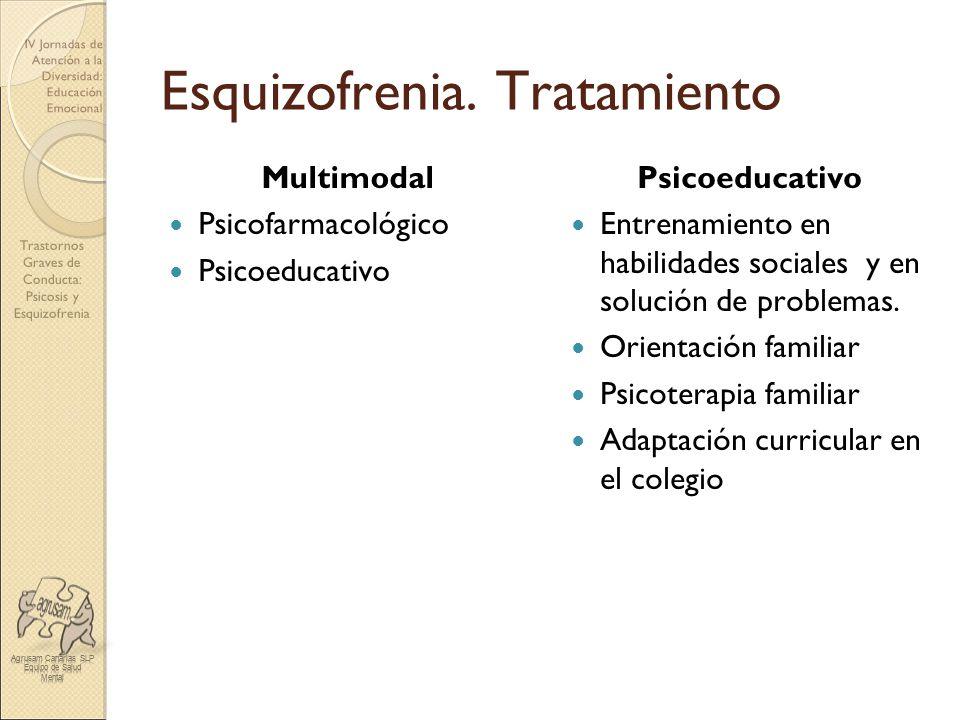 Trastornos Graves de Conducta: Psicosis y Esquizofrenia IV Jornadas de Atención a la Diversidad: Educación Emocional Esquizofrenia. Tratamiento Multim