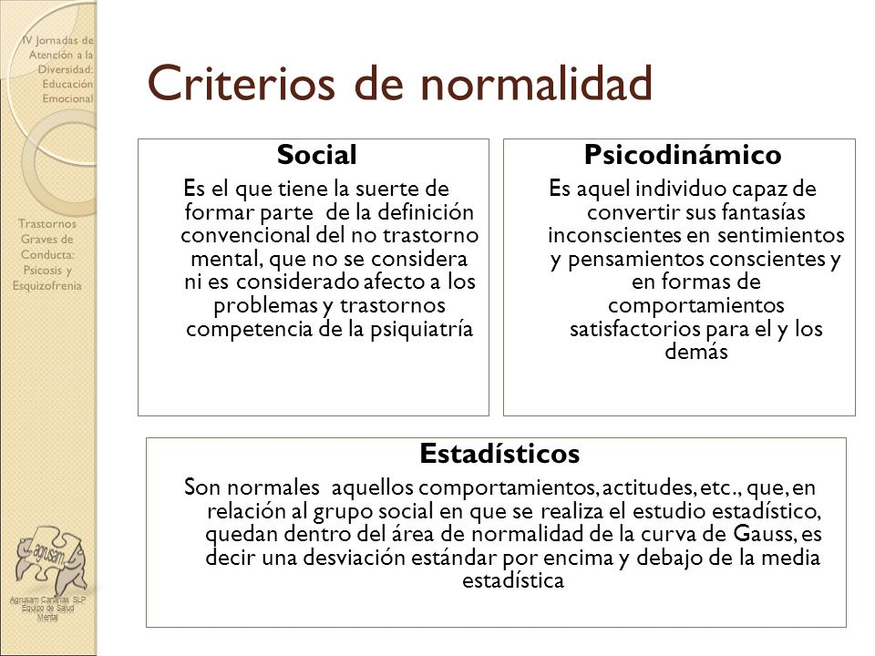 Trastornos Graves de Conducta: Psicosis y Esquizofrenia IV Jornadas de Atención a la Diversidad: Educación Emocional Criterios de normalidad Social Es