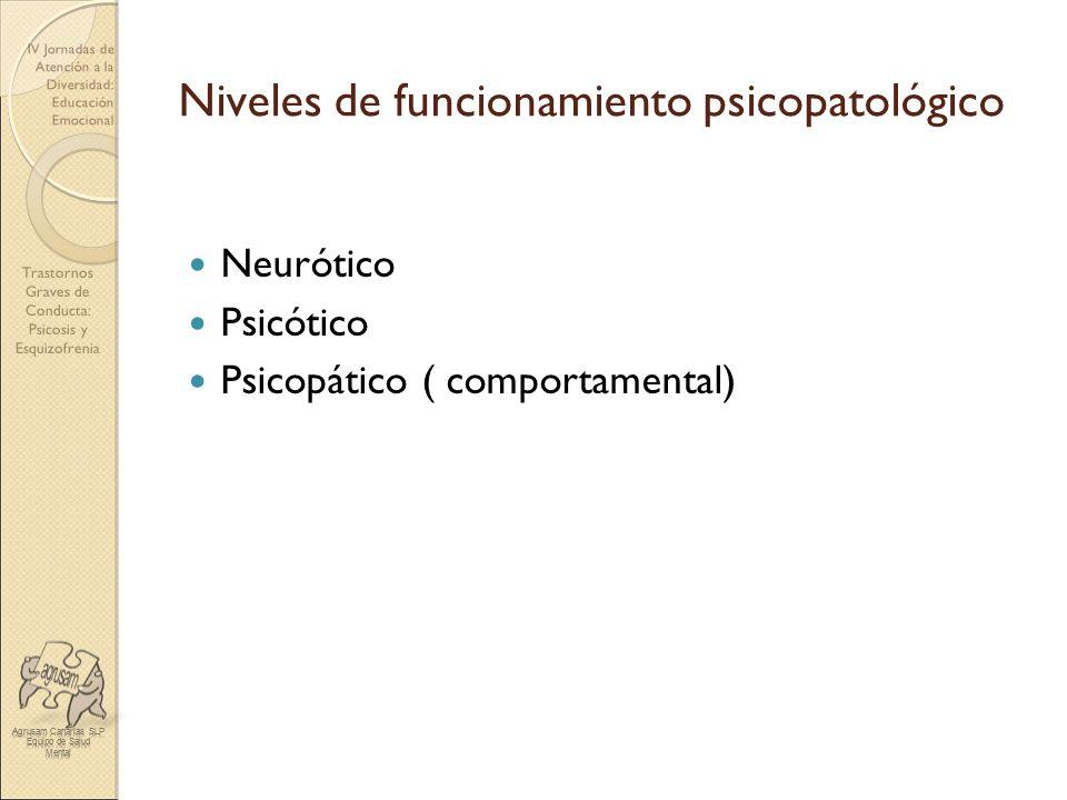 Trastornos Graves de Conducta: Psicosis y Esquizofrenia IV Jornadas de Atención a la Diversidad: Educación Emocional Niveles de funcionamiento psicopa