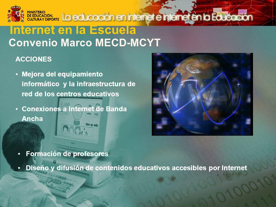 Convenio Marco MECD-MCYT ACCIONES Mejora del equipamiento informático y la infraestructura de red de los centros educativos Conexiones a Internet de Banda Ancha Formación de profesores Diseño y difusión de contenidos educativos accesibles por Internet Internet en la Escuela