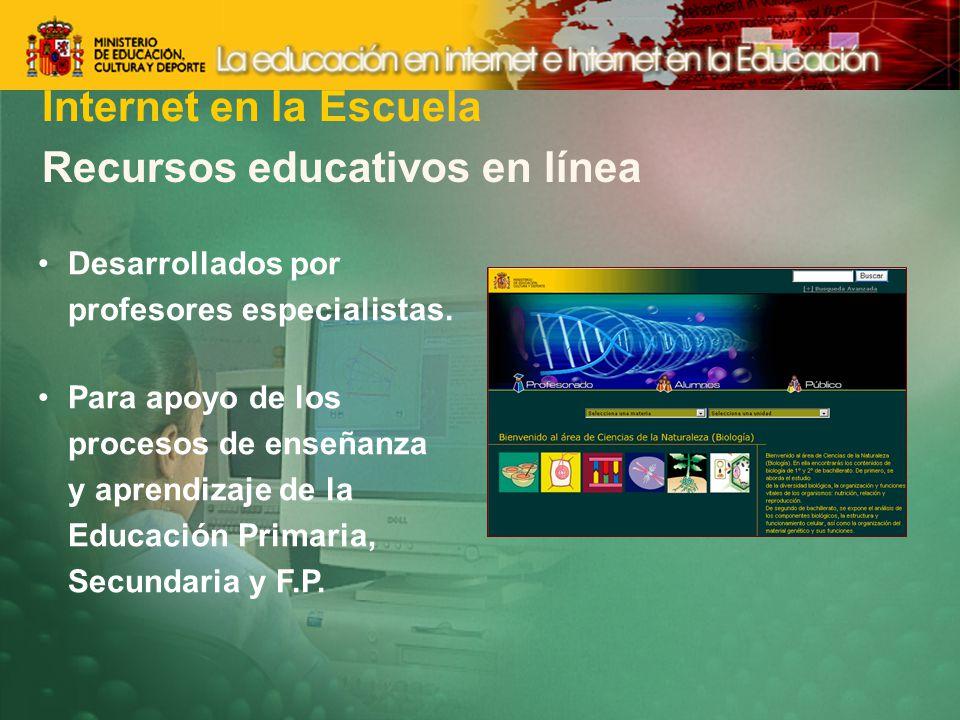 Recursos educativos en línea Desarrollados por profesores especialistas.