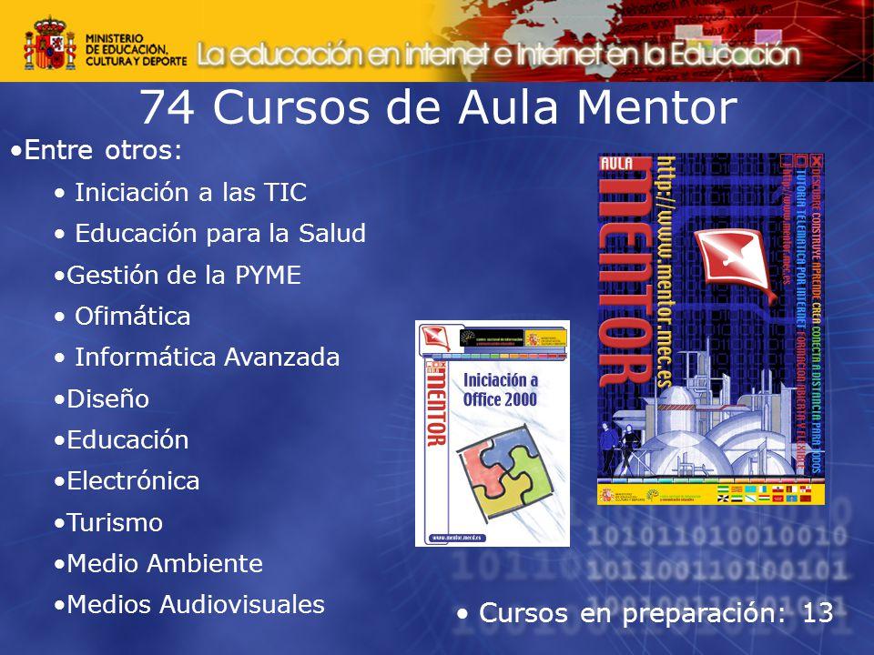74 Cursos de Aula Mentor Entre otros: Iniciación a las TIC Educación para la Salud Gestión de la PYME Ofimática Informática Avanzada Diseño Educación Electrónica Turismo Medio Ambiente Medios Audiovisuales Cursos en preparación: 13