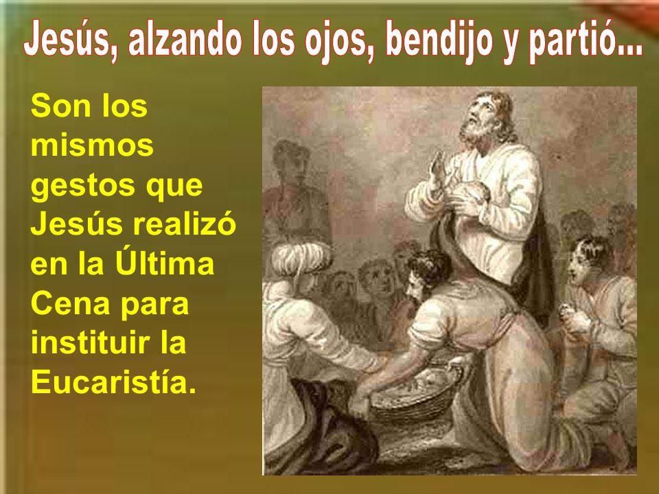 El evangelista san Juan nos da a entender que esa multiplicación de panes es un anuncio de la gran multiplicación que hará Jesús de su propio cuerpo p