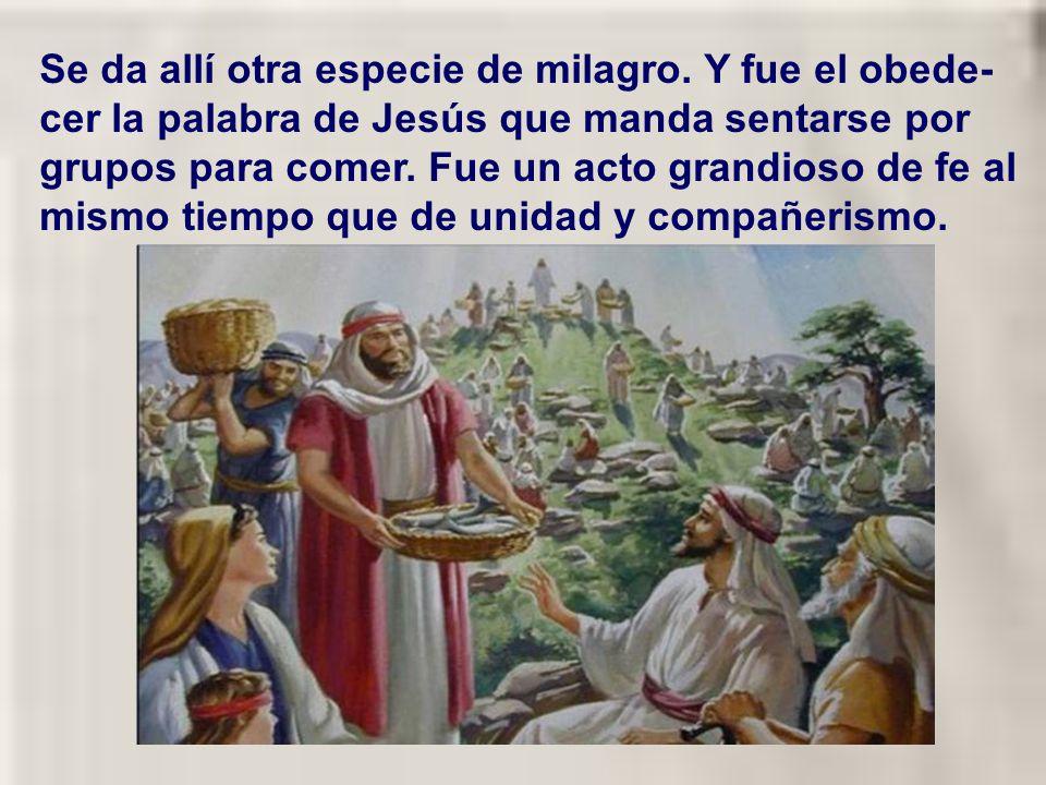 La similitud en los gestos indica la grandeza de la misericordia de Jesús al dar de comer a toda aquella gente. De hecho gestos parecidos los realizab