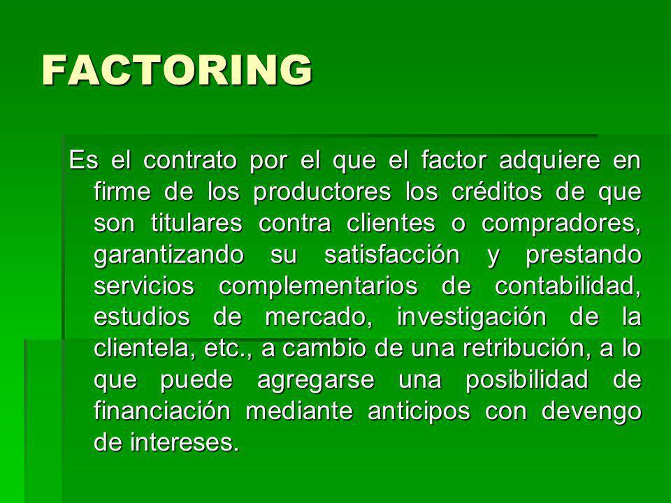 FACTORING Es el contrato por el que el factor adquiere en firme de los productores los créditos de que son titulares contra clientes o compradores, ga