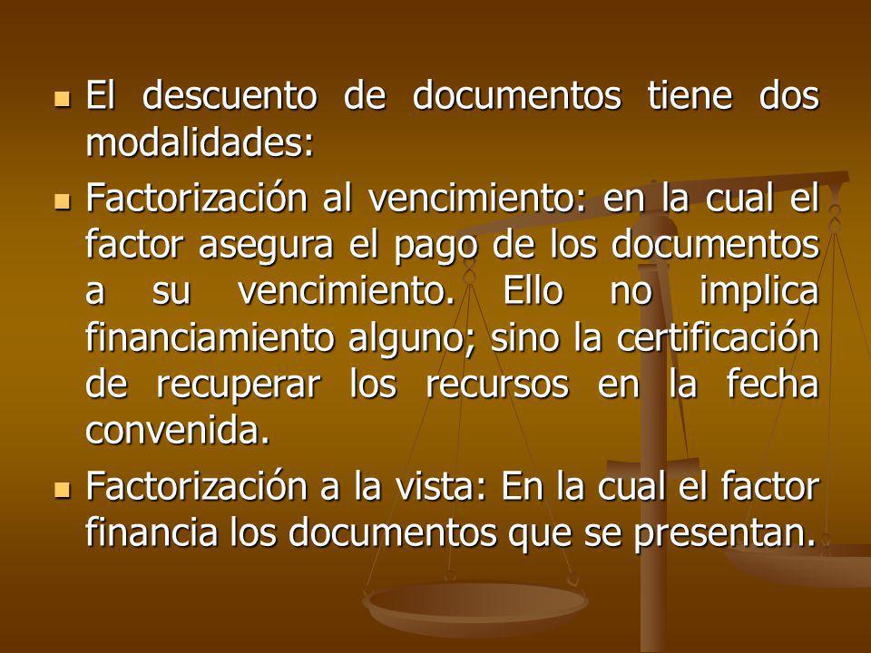 El descuento de documentos tiene dos modalidades: El descuento de documentos tiene dos modalidades: Factorización al vencimiento: en la cual el factor